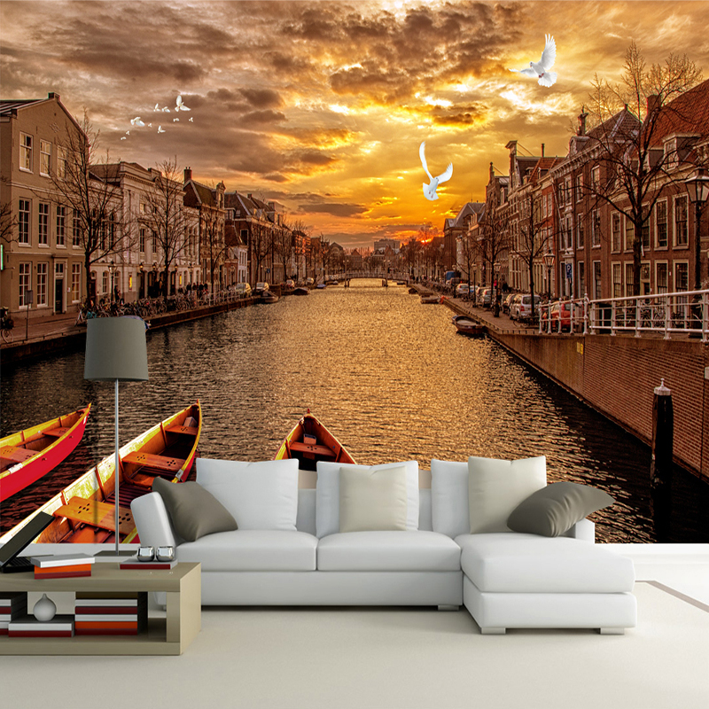 Custom 3D Wall Mural Wallpaper Retro European Street Landscape City Building Sunset Photo Wallpaper Living Room Cafe Papel Mural