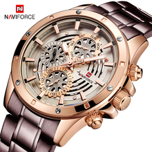 Relogio Masculino NAVIFORCE Men Watches Fashion Coffee Color Steel Band Quartz Watch Man Clock Chronograph Waterproof Wristwatch все цены
