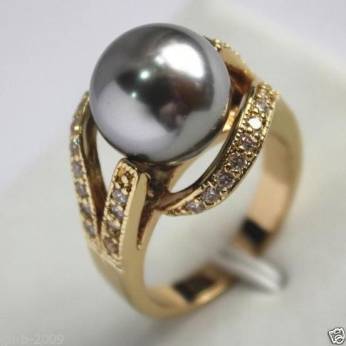 Gratis forsendelse >>>>>> 12mm Real Grey South Sea Shell Pearl Ring Størrelse 6/7/8/9 AAA Grade