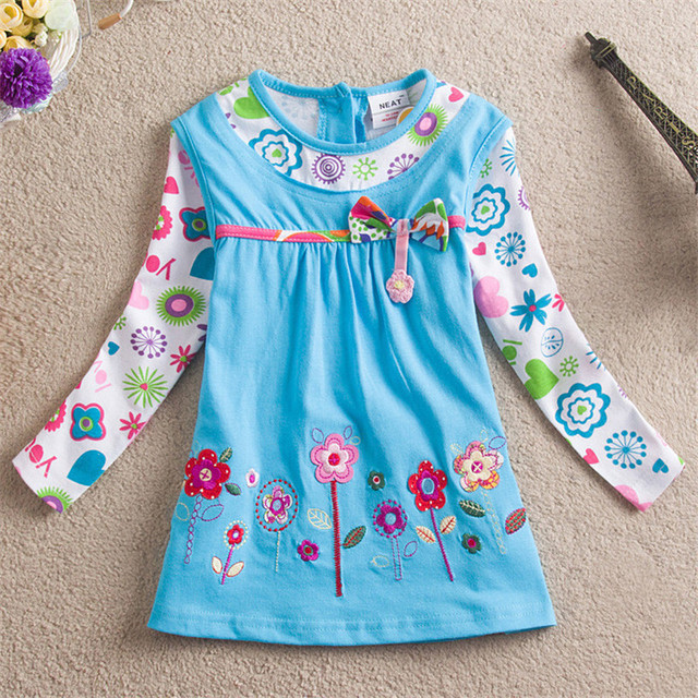 Wholesale girls dress Novatx kids children clothing long sleeve embroidery floral dress for girls costume girls dresses H2762
