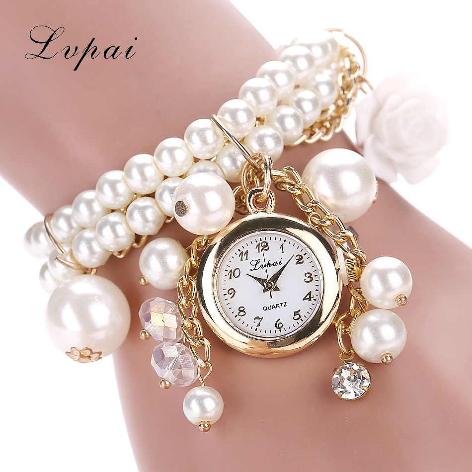 Lvpai Brand Fashion Box Women Watches Rose Flower Design Faux Pearl Round Dial Analog Quartz Bracelet WristWatches Women Watch 2017 lvpai flower rose gold bracelet watches women fashion casual quartz watch rhinestone wristwatches girls bangle women watch