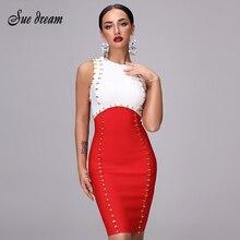 Zomer Vrouwen Bandage Jurk 2020 Rode En Witte Sexy Ronde Hals Mouwloze Tank Skinny Dress Celebrity Party Kerst Jurk
