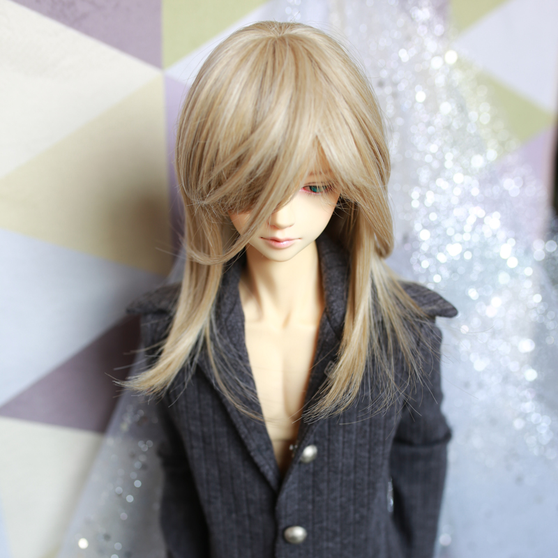 1/3 1/4 Bjd Wig Doll Man Fashion Style Shoulder Length Hair for BJD Doll Khaki Color Short Hair for Doll Young Boy 1 3 bjd wig hair super doll bjd wig fashion style doll curly mohair hair wig