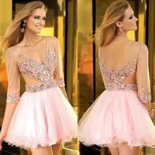 Sexy Hot 2016 V-ausschnitt Lace Cocktailkleider Langarm Homecoming Kleider Rosa Kurzen Abendkleid robe de cocktail