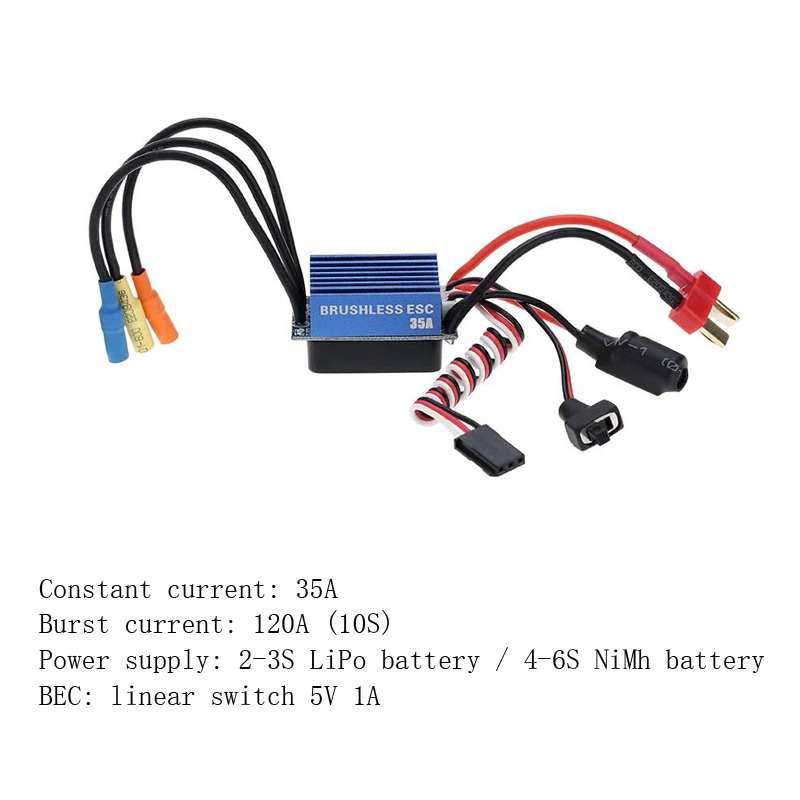Image 3 - 25A 35A 45A 60A 80A 120A ESC Electric Speed Controller for Traxxas Redcat 1/18 1/16 1/12 1/10 1/8 RC Truck Monster Off road CarParts & Accessories   -