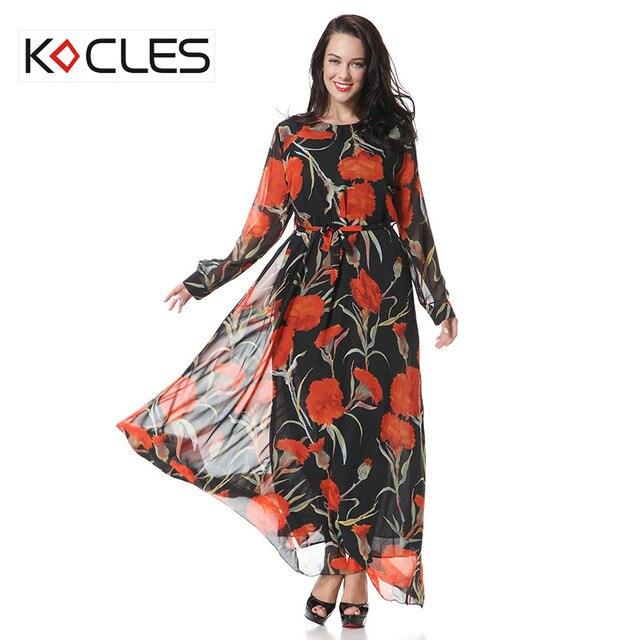 445b31eac74 Plus Size 5 6XL Women Spring Autumn Elegant Modest Maxi Tunic Belted Chiffon  Flower Floral Print O Neck Muslim Party Long Dress