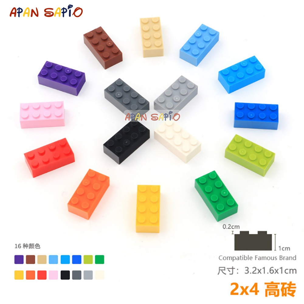 DIY Blocks Building Bricks Thick 2X4 8pcs/lot Educational Assemblage Construction Toys For Children Compatible With Brands