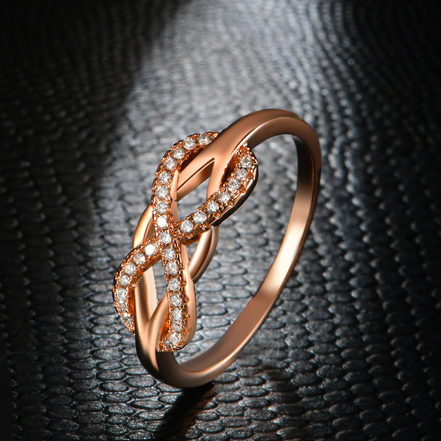 KNOCK high quality Fashion Micro Inlayed Cross Rings For Women Wedding Cubic Zircon CZ Crystal Ring Rose Gold Color 3