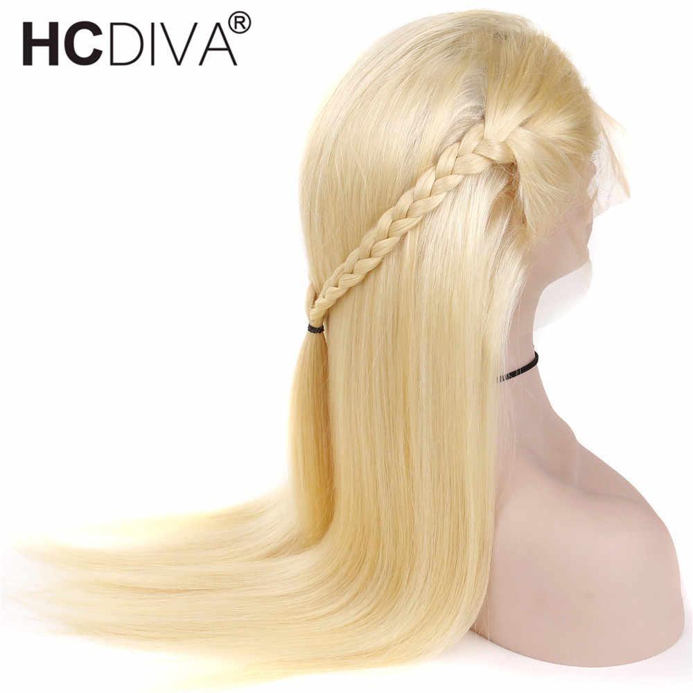 Pelucas de pelo humano de encaje completo 613 rubias con pelo de bebé Remy brasileño recto pelucas de encaje completo Pre desplumado línea de cabello Natural HCDIVA
