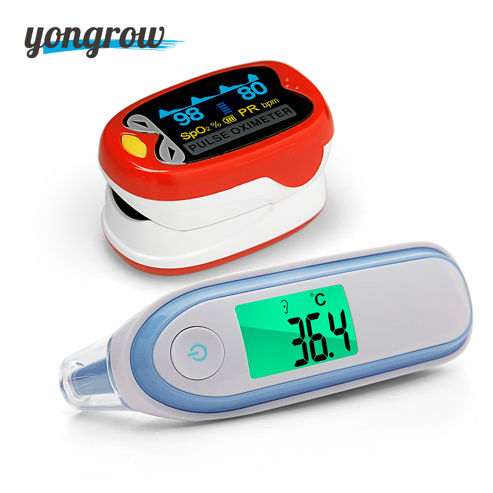 Yongrow hot Forehead Ear Thermometer Medical LCD Infrared Digital And baby Pediatric Portable Fingertip Pulse Oximeter