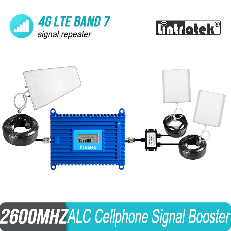 Lintratek 800sqm Cover 4G LTE 2600 MHz Mobile Phone Signal Booster Band 7 FDD 2600 ALC Repeater LCD Display Blue Amplifier #38