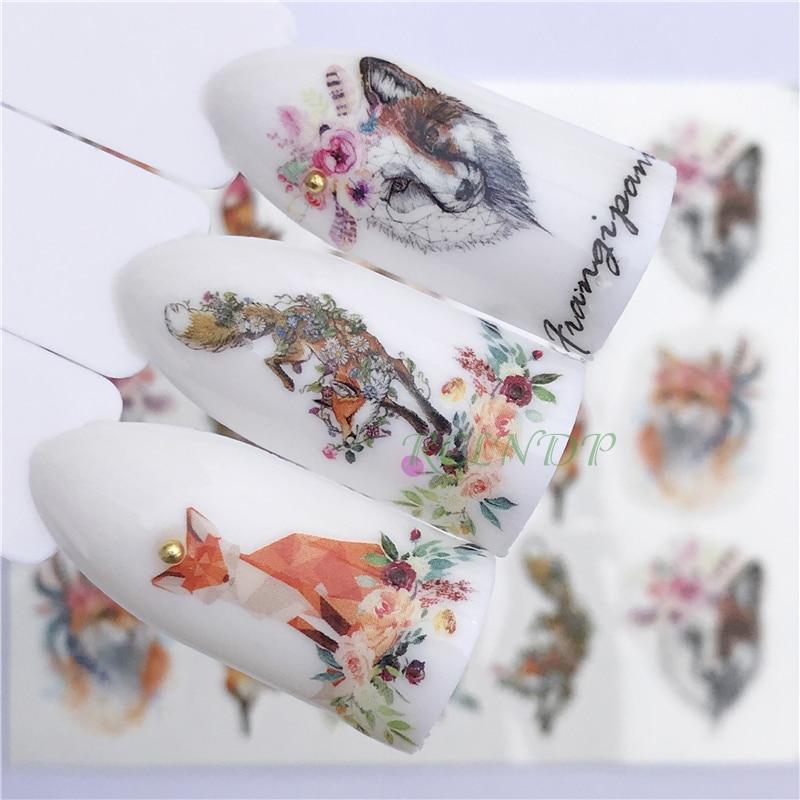 Etiqueta do prego decoração arte deslizante fox lobo animal adesivo projeto do decalque Água manicure acessórios laca polonês foil
