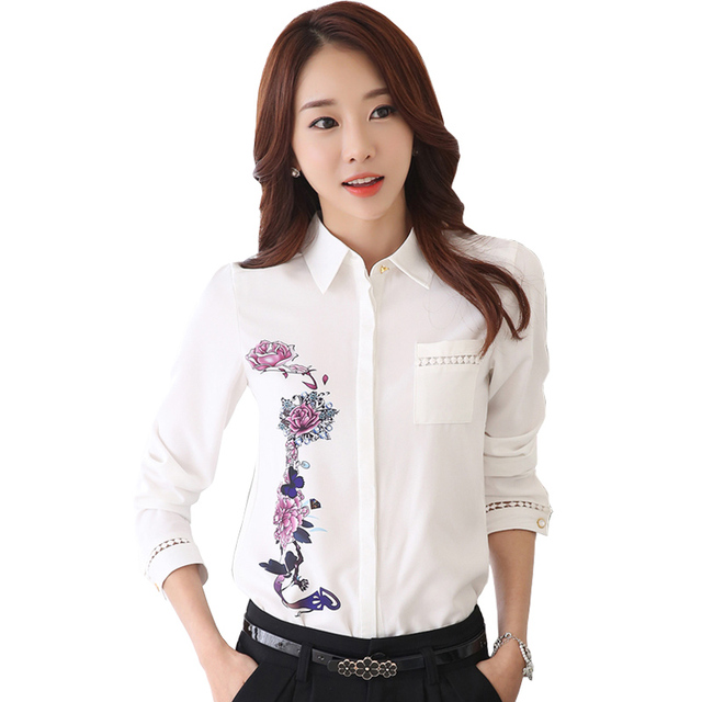 Floral Printed OL Fashion White Blouse Plus Size S-3XL Show Slim Career  Women Casual Chiffon Shirts 9b47b40f027e