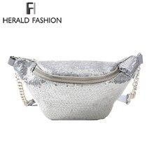 Herald мода блестка талии сумка Для женщин пакет с блестками Женские поясные сумки кармашек дорожная сумка денежные мешки кассир чехол(China)