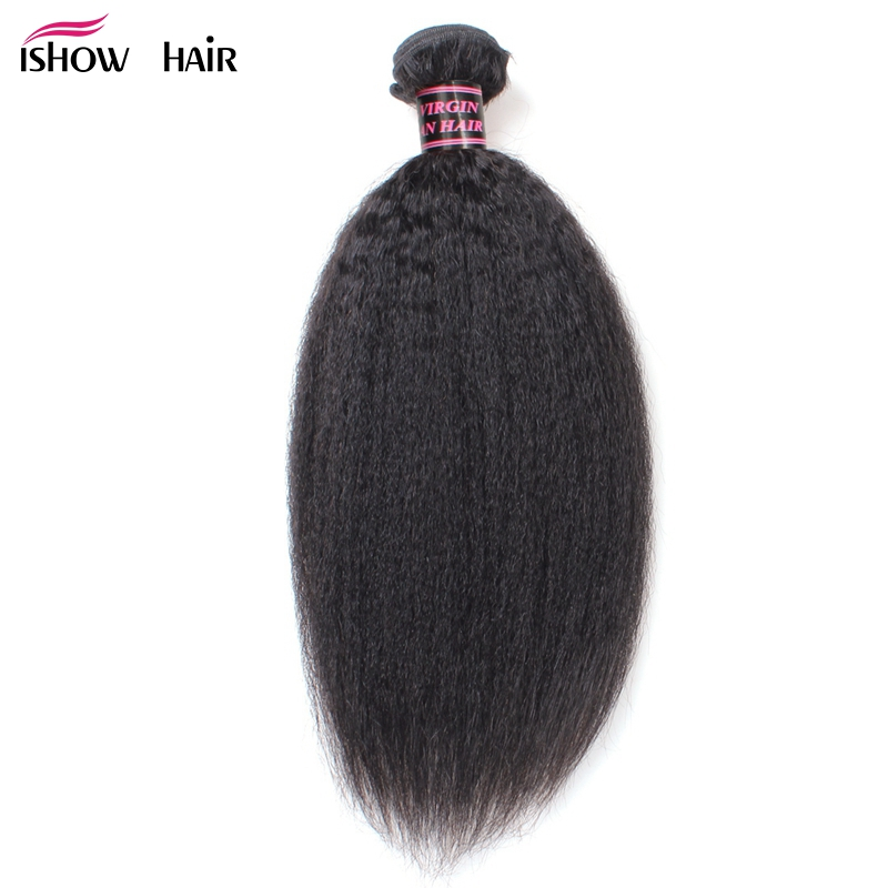 Ishow Hair Malaysian Human Hair Kinky Straight Hair Weave Bundles 1 Piece Natural Color Non Remy Yaki Human Hair Extensions