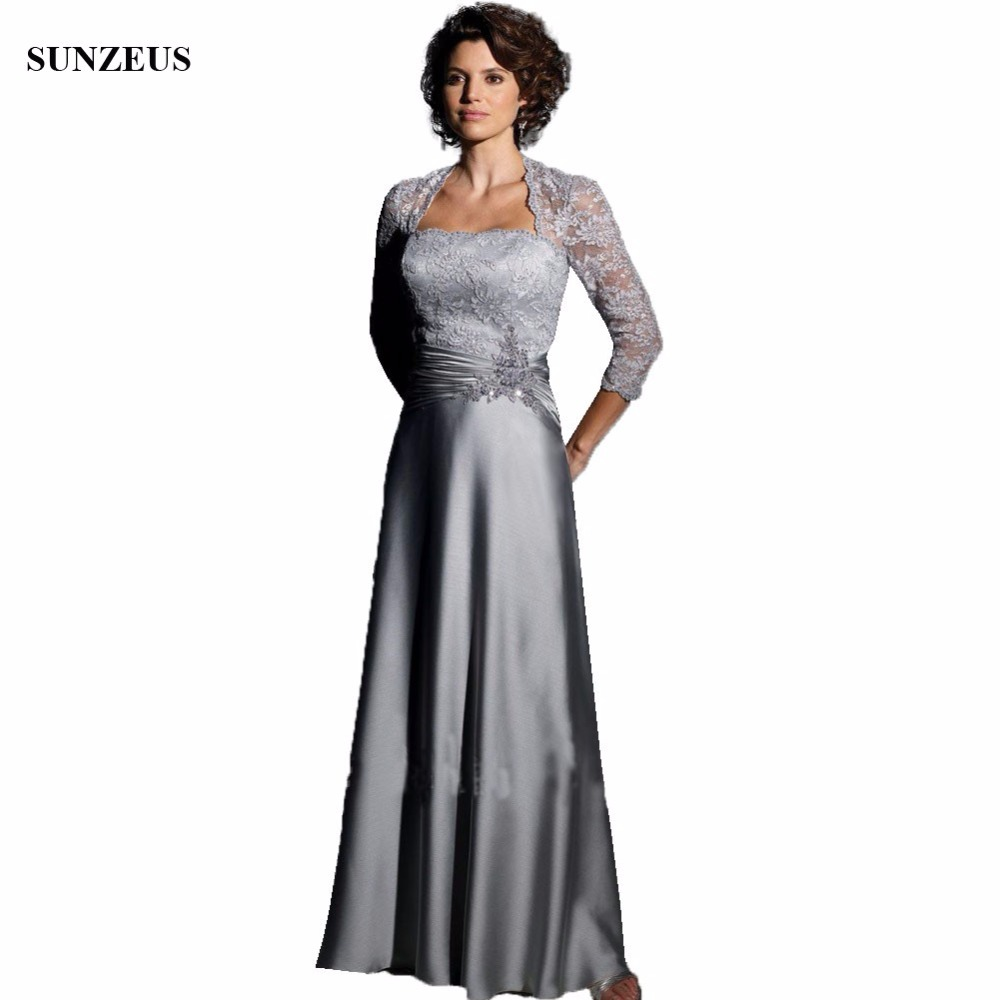 Long Grey Mother Of The Bride Dresses With Lace Jacket