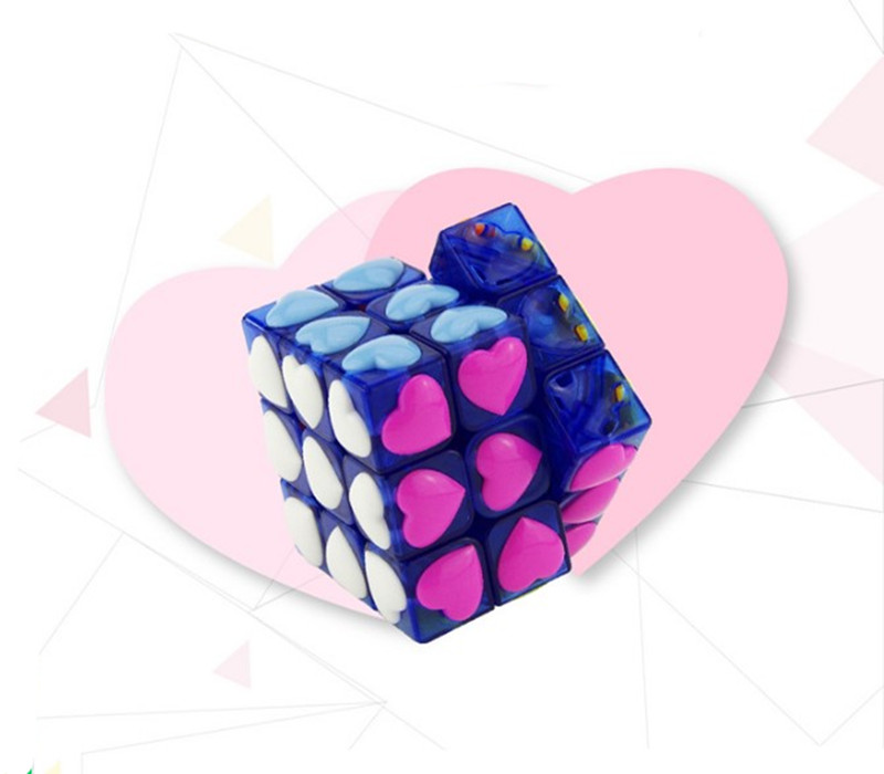 Купить с кэшбэком Love Puzzle Magic Cube 3x3x3 Cubo Magico Puzzle Speed Classic Magic Toys For Children Colorful Cute Cube Learning Toys