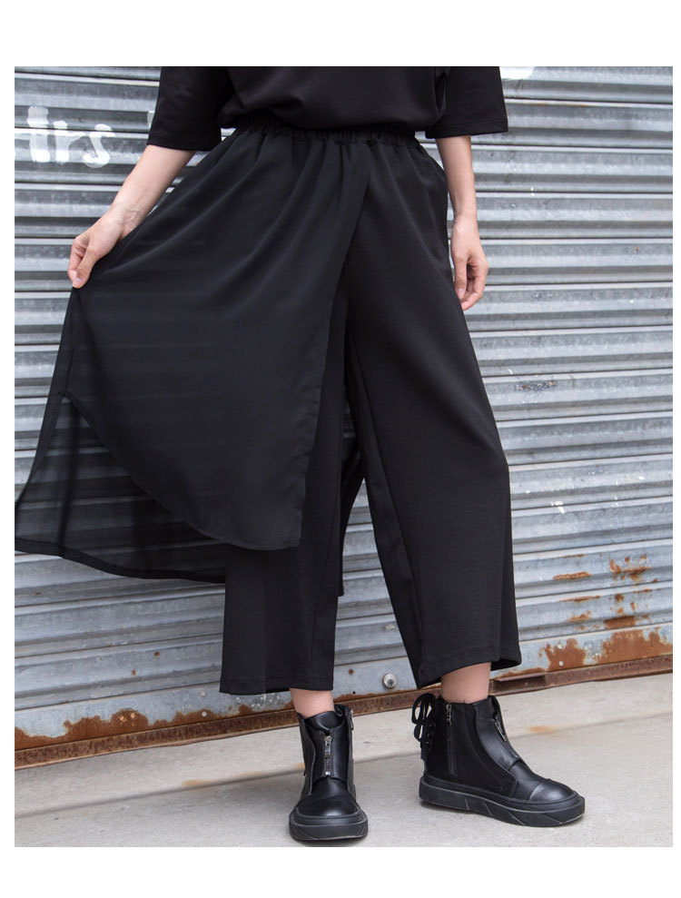 Bitcoin 春の新スプリットスカート非対称パンツ女性カジュアルシフォンパッチワークアンクル丈パンツ 今週の割引 Aditif.co.in 5
