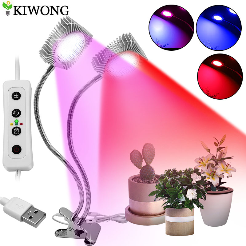60W Plant Grow Light 98 LED Plant Grow Lamp with 3/6/12H Timer 2 Head Adjustable Gooseneck for Indoor Plants Full Spectrum(China)