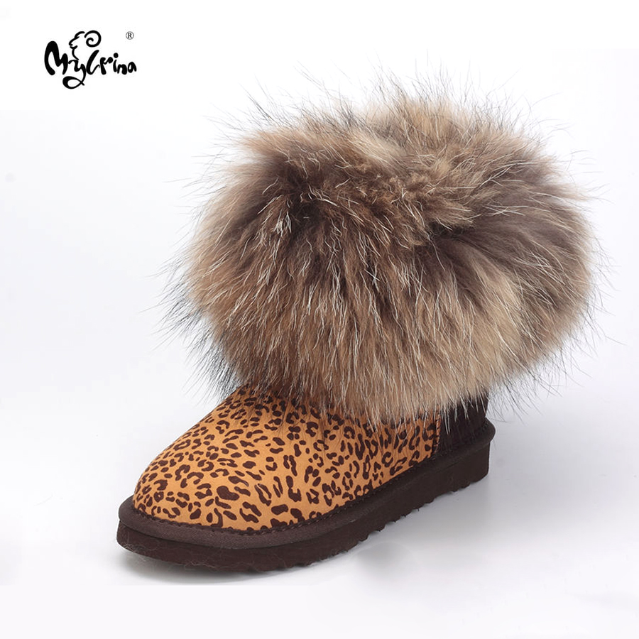 Fashion Thick Natural Fox fur Snow Boots Women Boots 100% Real Sheepskin Leather Waterproof Winter Warm Snow Boots Ankle Boots jxang fashion thick natural fox fur snow boots women boots 100% real leather waterproof winter warm snow boots ankle boots