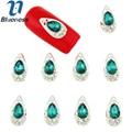 Cor azul 10 pçs/lote encantos liga de prata de cristal esmeralda luxo Nail Art decoração Design de jóias Manicure TN1613