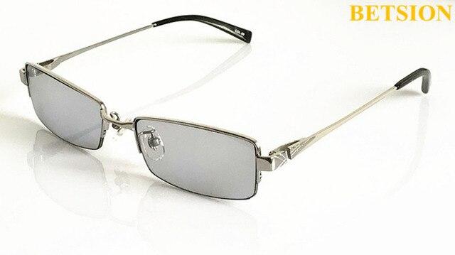 6a5e72b956 Men Pure Titanium Silver Eyeglass Frame Light Gray Sunglasses Fashion Half  Rimless 178
