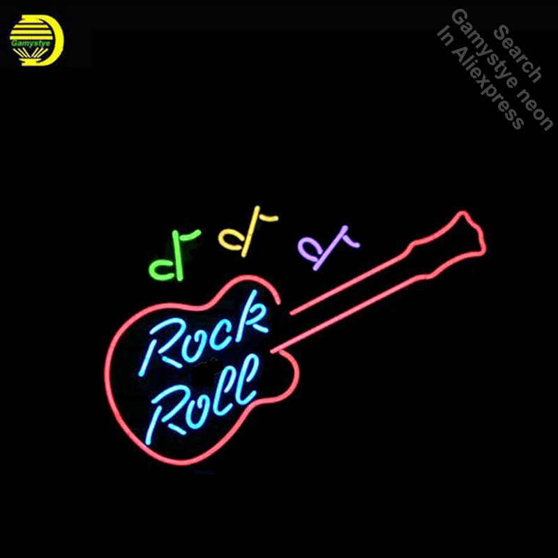 Neon Sign For Rock N Roll Guitar Neon Bulb Sign Beer Bar Pub Music Neon Lights Sign Glass Tube Iconic Advertise Night Light
