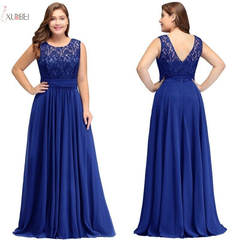 2019 Royal Blue Chiffon Plus Size Long   Prom     Dresses   Lace Applique Sleeveless   Prom   Gown vestidos de festa
