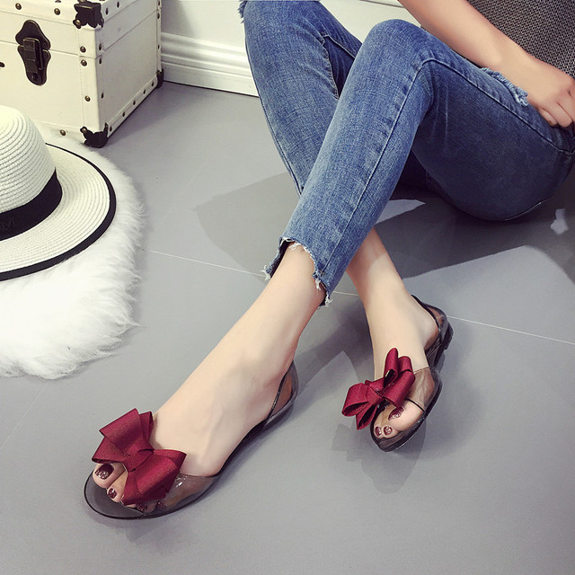 a0d4f03f146d5a 2017 Summer Crystal Jelly Shoes Female Sweet Open Toe Flat Heel Casual  Beach Sandals Flats Women Shoes With Bow RD914830-in Low Heels from Shoes  on ...