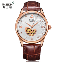 ROSDN Couple Luxury Brand Women Watch Leather Girl Watch Waterproof Fashion Brand Mechanical Wristwatch Men Watches