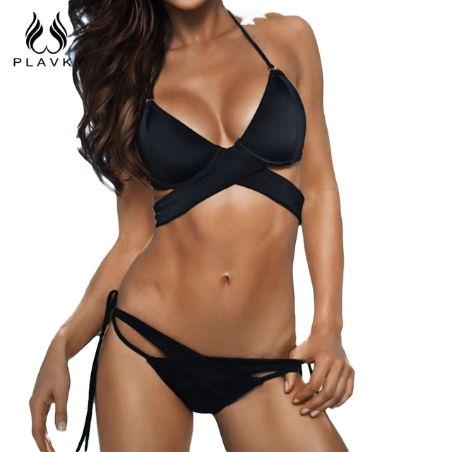 51591034a62 PLAVKY 2018 Sexy Lady Black Halter Bandage Biquini Beachwear Swim Wear  Bathing Suit Swimsuit Swimwear Women Brazilian Bikini Set -  www.beautitopia.com