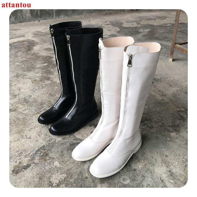 De Largas Otoño Negro Invierno Plano Zapatos Cuero Concisa Cómodos XPukOZi