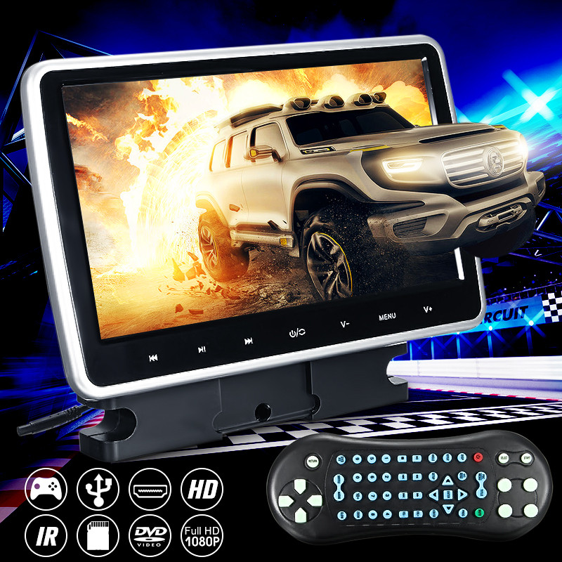 10 Inch 1024*600 Car Headrest Monitor DVD Player USB/SD/HDMI/FM/Game TFT LCD Screen Touchs Button Support Headphone цена 2017