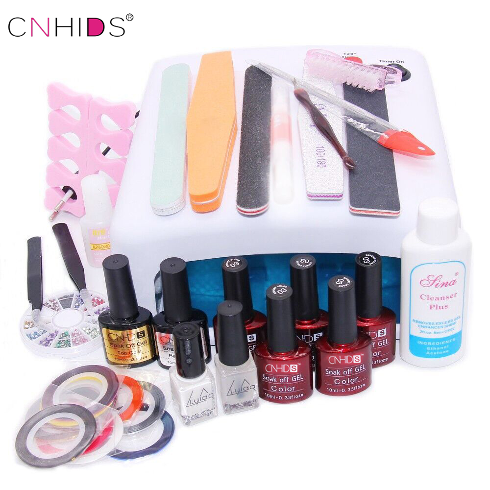 Nail Art Manicure Tools 36W UV Lamp+5 Color 10ml uv Led Gel Base Top Coat polish with French tip Remover Practice set File kit купить