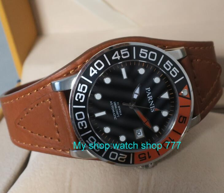 42MM <font><b>PARNIS</b></font> 21 jewels Japanese 821A automatic Self-Wind Mechanical watches Sapphire Crystal <font><b>10Bar</b></font> luminous men's watch 51sy image