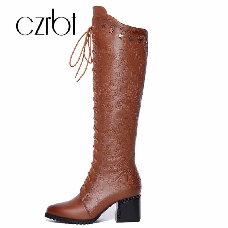 400007a01 Czrbt Новая стильная обувь женские на квадратном высоком каблуке из  коровьей кожи теплый носок и сапоги черный/коричневый женские ботинки раз.