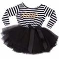 Dress vestido del bautizo del bautismo del bebé para recién nacido 1 2 años rayas regalo de cumpleaños party dress boutique de ropa de bebes