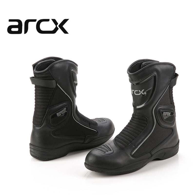 ARCX Unisex Impermeável Motocross Motocicleta Botas Sapatos Moto Moto Scooter Moto Botas de Couro Sapatos de Lazer