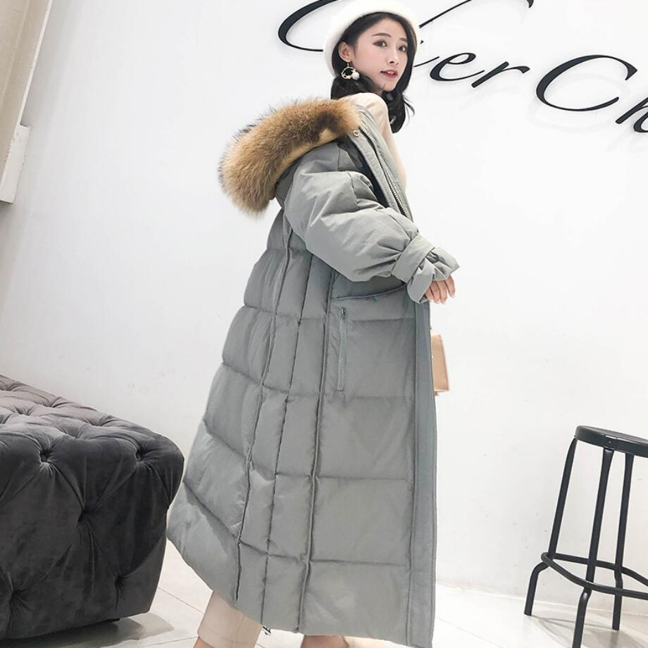 2019 New Winter large Fur Collar Hooded White Duck   Down   Jacket Women Thick Loose long   Down     Coat   outwear r1430