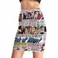 NEW Arrival 0019 Girl Women Summer Sick of man story Newpaper comic 3D Prints Skater Miniskirt Evening Sexy Mini Tight Skirt