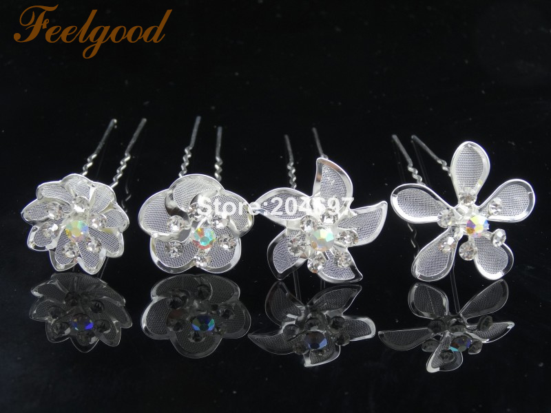 Detail Feedback Questions about Feelgood 200pcs lot New Design Diamante  Rhinestone AB Crystal Flower HairPins Wedding Hair Accessories Wholesale on  ... f27a3a1be77c