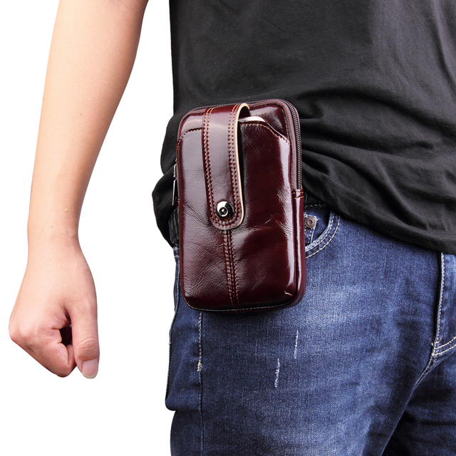 brand new 0bb36 227c6 US $21.84 5% OFF|Genuine Leather Waist Bag for iPhone X/XS/XR/XS Max 8 7 6  6s Plus Vintage Hip Bum Belt Pouch for Samsung/Xiaomi Business Men -in ...