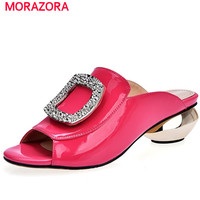 MORAZORA Top Quality Summer Shoes Sandals Women Genuine Leather Shoes Solid Non Slip Med Heels Shoes