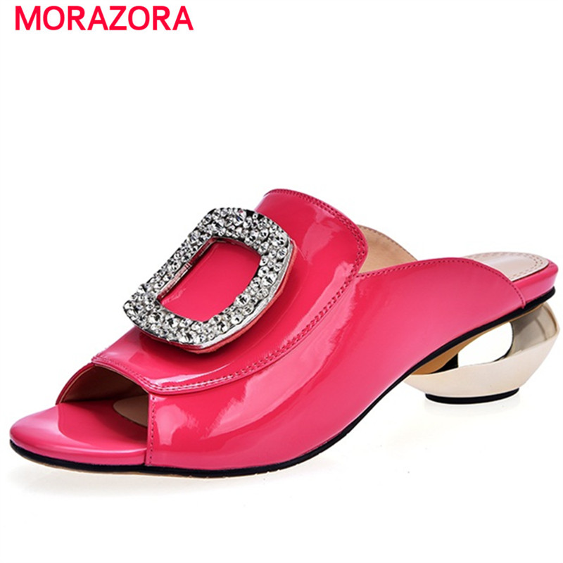 MORAZORA Top quality summer shoes sandals women genuine leather shoes solid non-slip med heels shoes 4cm party size 34-42 morazora bind pu solid high heels shoes 5cm in summer fashion elegant party shoes sandals party large size 34 42