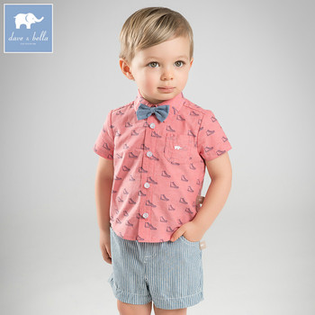 4d5b6ae17 Dave bella baby clothing sets boys summer with tie suits children shirt+short  2 pcs sets toddler fashion outfits DB8274