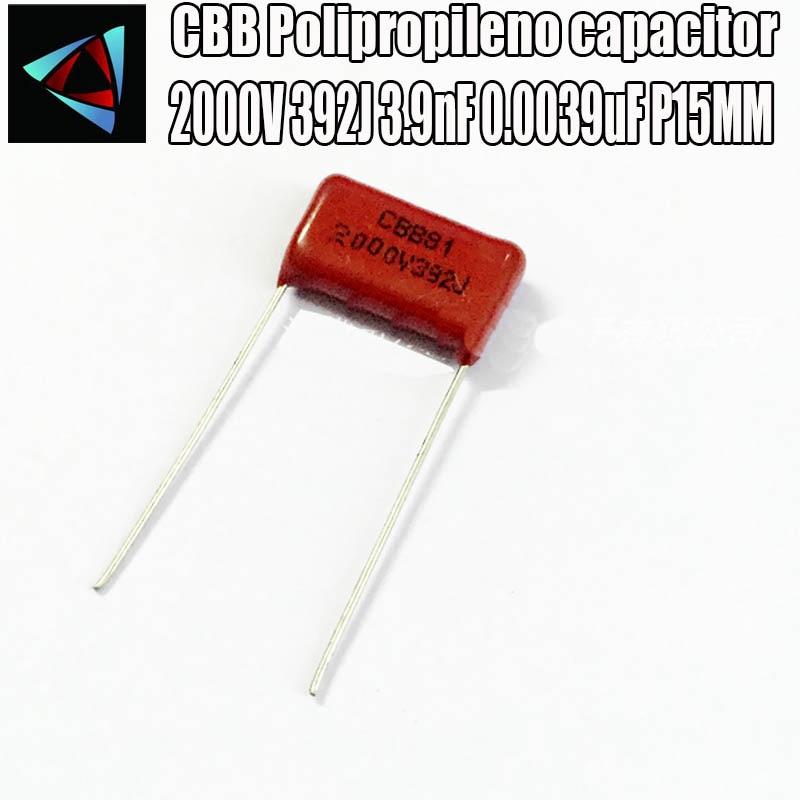 12PCS 2000V 392J 3.9nF 0.0039uF P15MM Polypropylene Film Capacitor Pitch 15mm