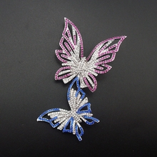 New Fashion Female Popular Elegant Paved Austrian Rhinestone Double Butterfly Jewelry Pin Brooch For Wedding Item