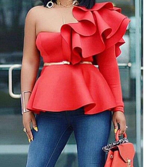 Neploe מוצק ראפלס נשים חולצות קיץ 2019 חדש אופנה אחת כתף חולצה סקסי ארוך שרוול Blusa 43496