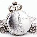 Тд унисекс париж эйфелева башня старинные полированного серебра кварцевые карманные часы цепи ожерелье + подарочной коробке