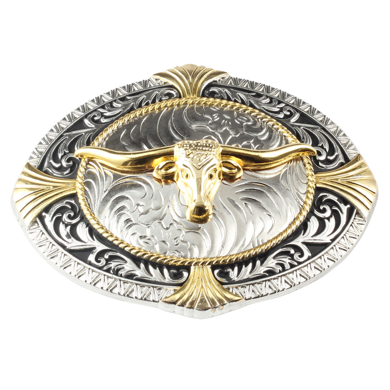 Golden Cow Belt Buckle The Western Style Big Buckle For Belt Width Is 3.8 CM